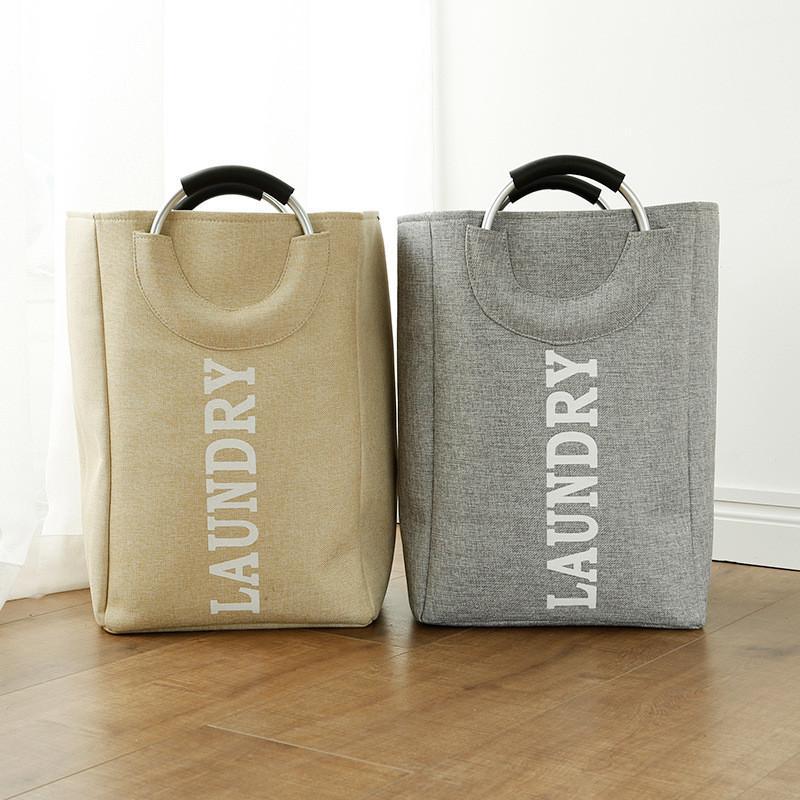 Foldable linen laundry hamper on aluminum handle home large toys sundries Storage basket Folding laundry handbag