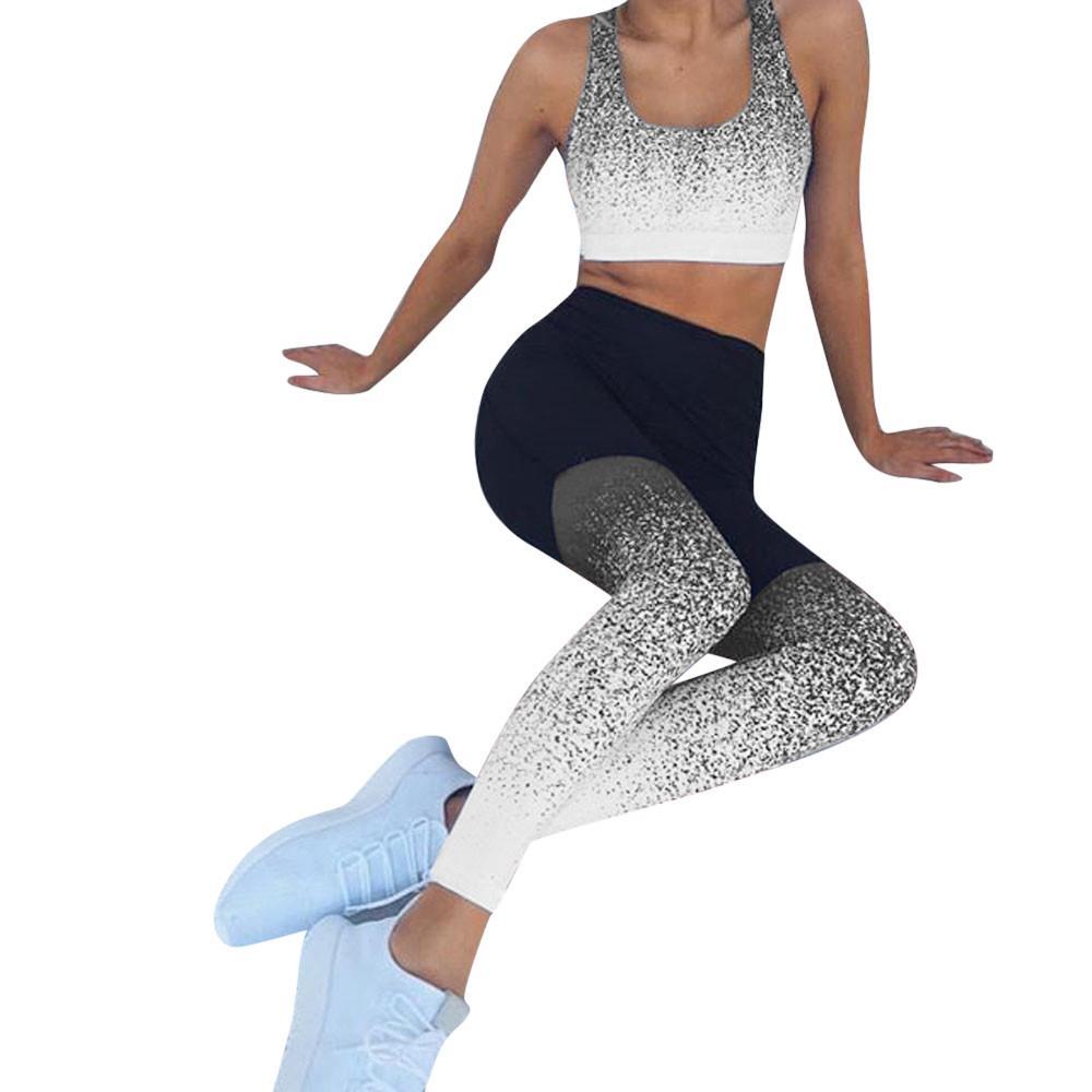 Aptitud de las mujeres de las polainas Casual Imprimir rutina Pantalones Lápiz Pantalones elásticos Gradiente Legging flaco Leggins gótica Jeggings # F