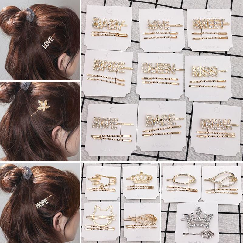 패션 크리스탈 헤어핀 빛나는 모조 다이아몬드 QUEEN 사랑 편지 헤어 클립 여성 여자 드롭 배송 헤어 액세서리를 설정