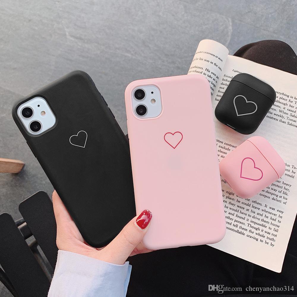 لطيف لينة حالة لفون برو 11 X XR إكسس ماكس لشركة آبل Airpods 1 2 الحب القلب الهاتف لتغطية اي فون 8 زائد 7 6S 6 5 5S SE 2020