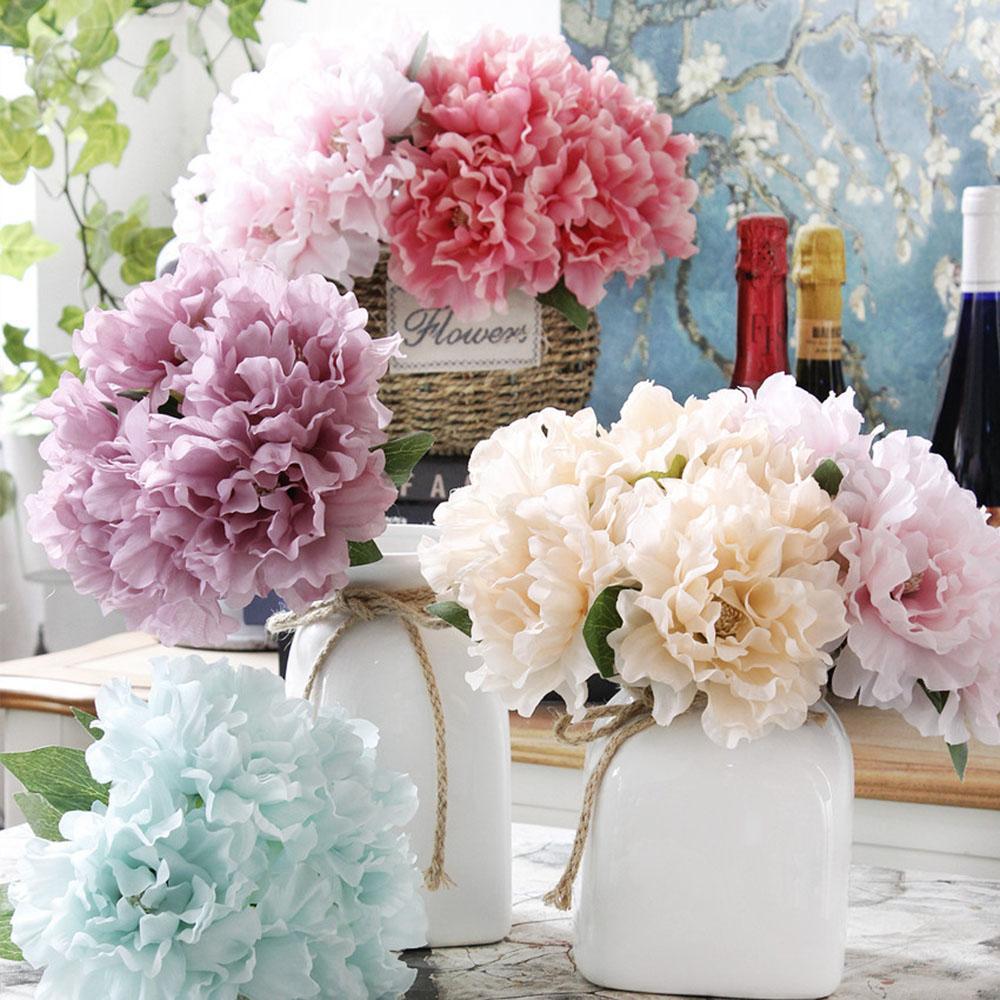 5PCS / 많은 실크 Artifcial 모란 꽃 부케 수국 웨딩 벽 장식 화이트 모란 핑크 가짜 꽃 DIY 액세서리 로즈