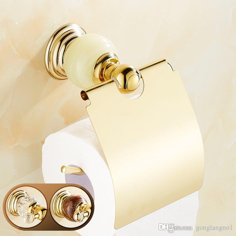 Kristal ve Jade Golden Luxury Kağıt Mendil Tutucu Duvar Kapaklı Rulo Kağıt Tuvalet Kağıdı Rack Monteli
