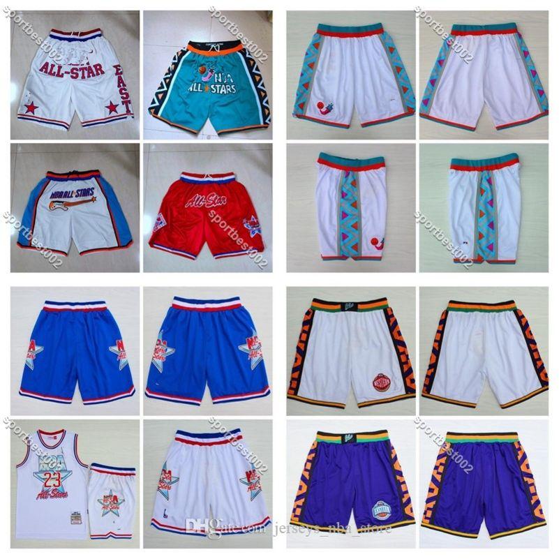 MEN 1992 1996 2020 1988 N B A de las Estrellas del Este pantalón corto blanco Sólo DON bolsillo del pantalón de Mitchell Ness S-XXL 02