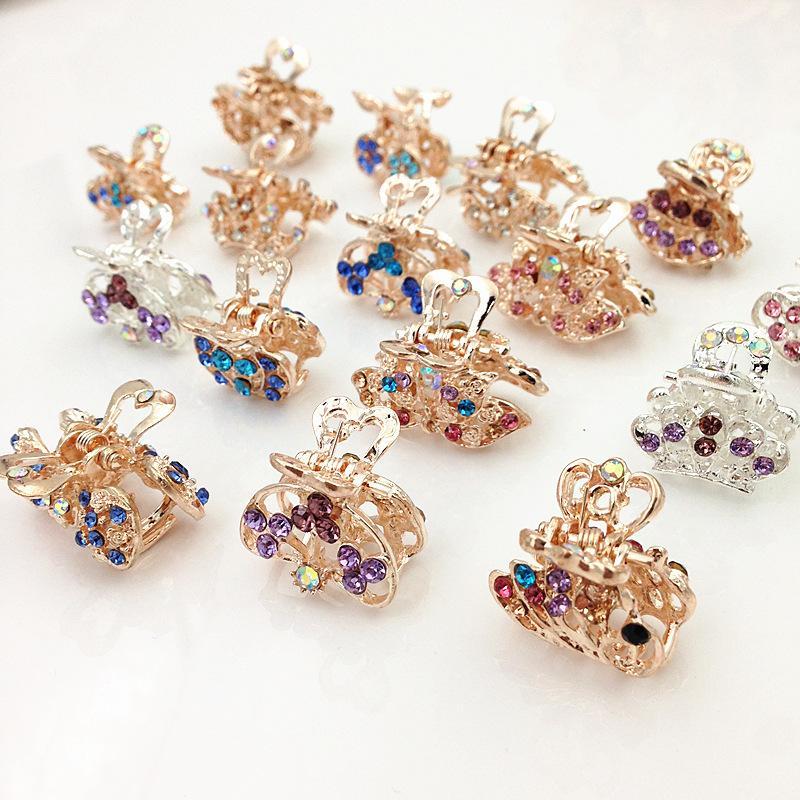 colorido diamantes de imitación apretones pequeña pinza clips de garra cristalina del pelo de la plata del oro de la corona hairclips horquillas accesorios
