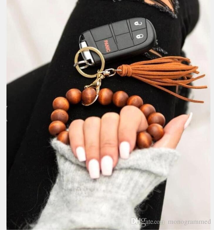 여성 나무 열쇠 고리 팔찌에 대한 DHL 체인 | 개인 나무 구슬 열쇠 고리 | 나무 모노그램 선물 | 사용자 정의 모노그램 열쇠 고리 (Key Fob)