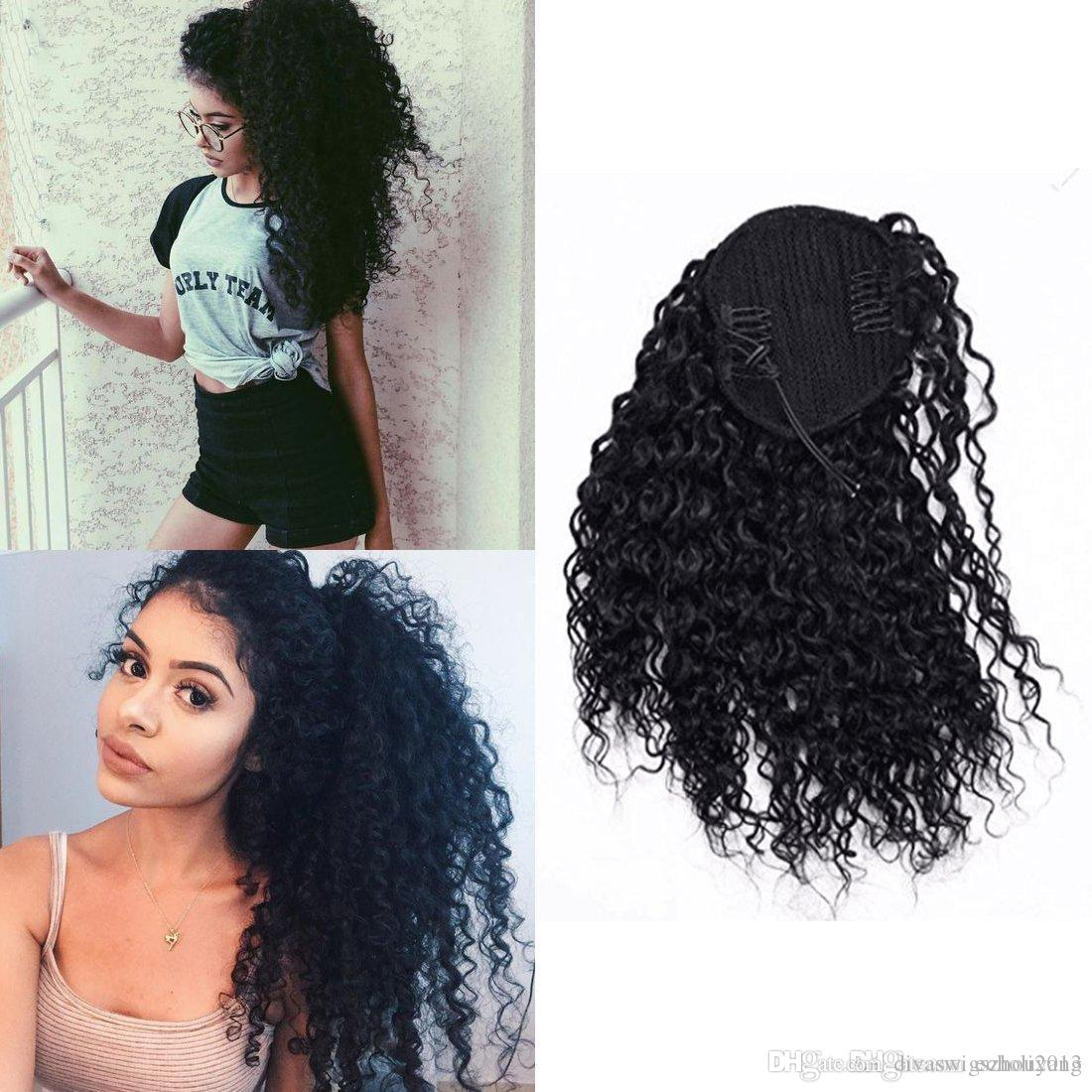 Peinados fáciles de cola de caballo Clip en extensiones de cabello humano de cola de caballo Kinky Curly Drawstring pony tail Afro puffs Virgin Curly pony tails 1b color