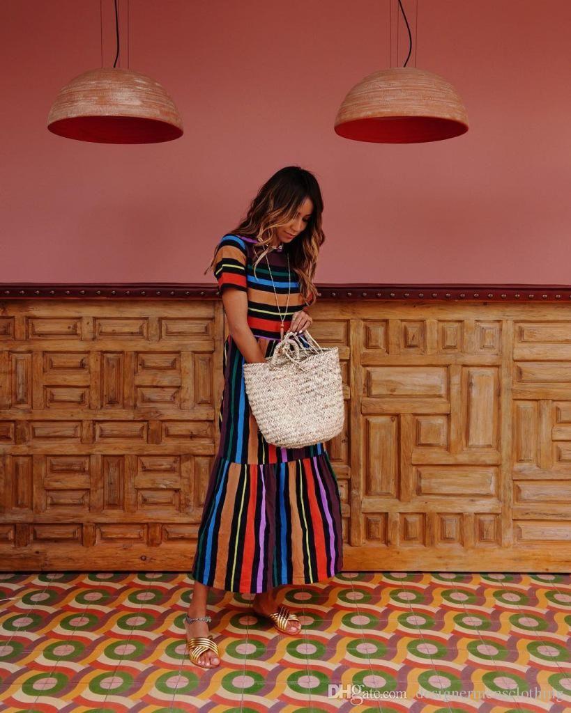 المرأة الصيف البوهيمي اللباس قوس قزح مخطط طباعة فساتين طاقم الرقبة قصيرة الأكمام ملابس موضة ملابس عارضة