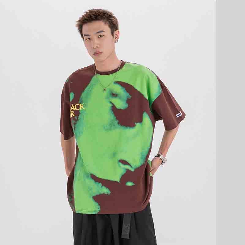 Verão de alta qualidade Camisetas Travis Sco American Face Full Face Impresso dos homens soltos de manga curta dos homens
