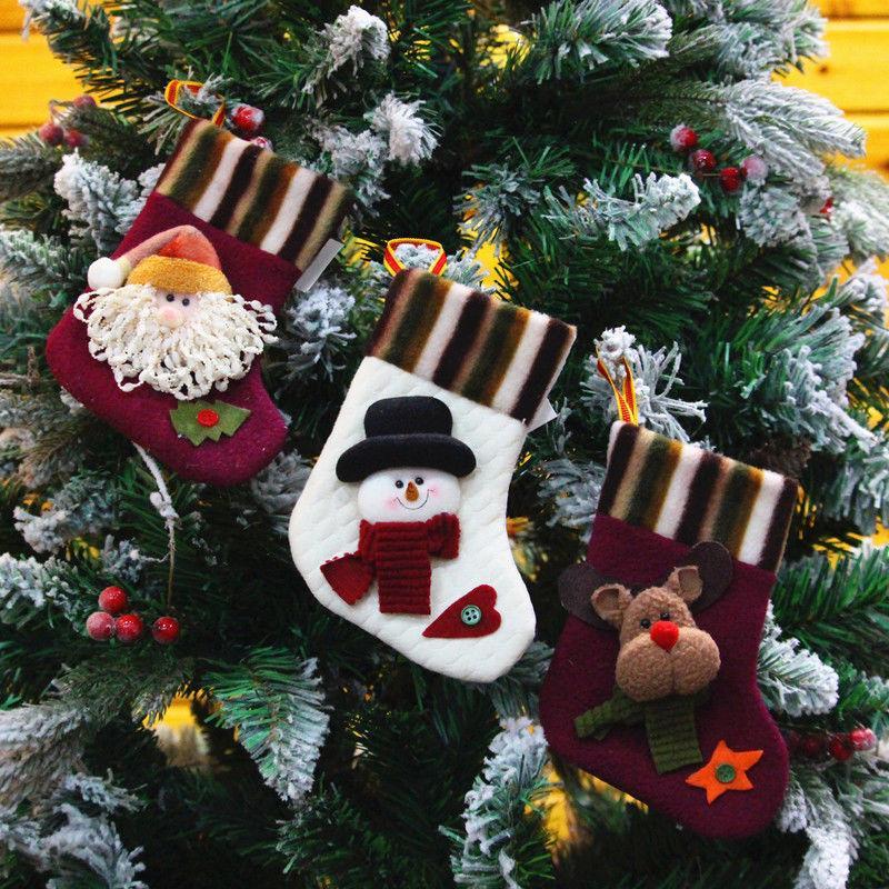 Los titulares caso de la bolsa media de la Navidad calcetín relleno 3D muñeco de nieve reno niños regalo del caramelo medias regalo