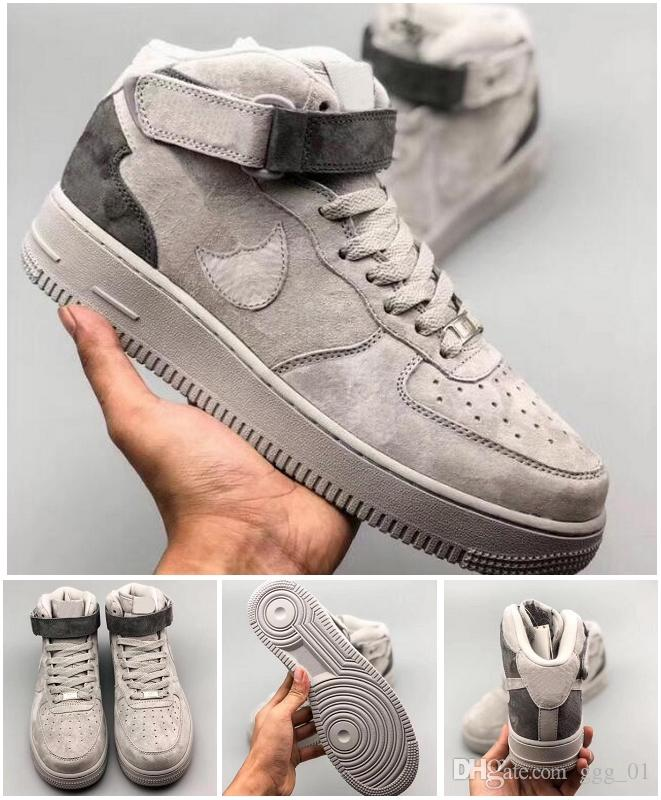 07 Grey low cut and high cut Reigning Champ Skateboarding sports shoes unisex skate classics suede leather couple sneaker size EUR36-45