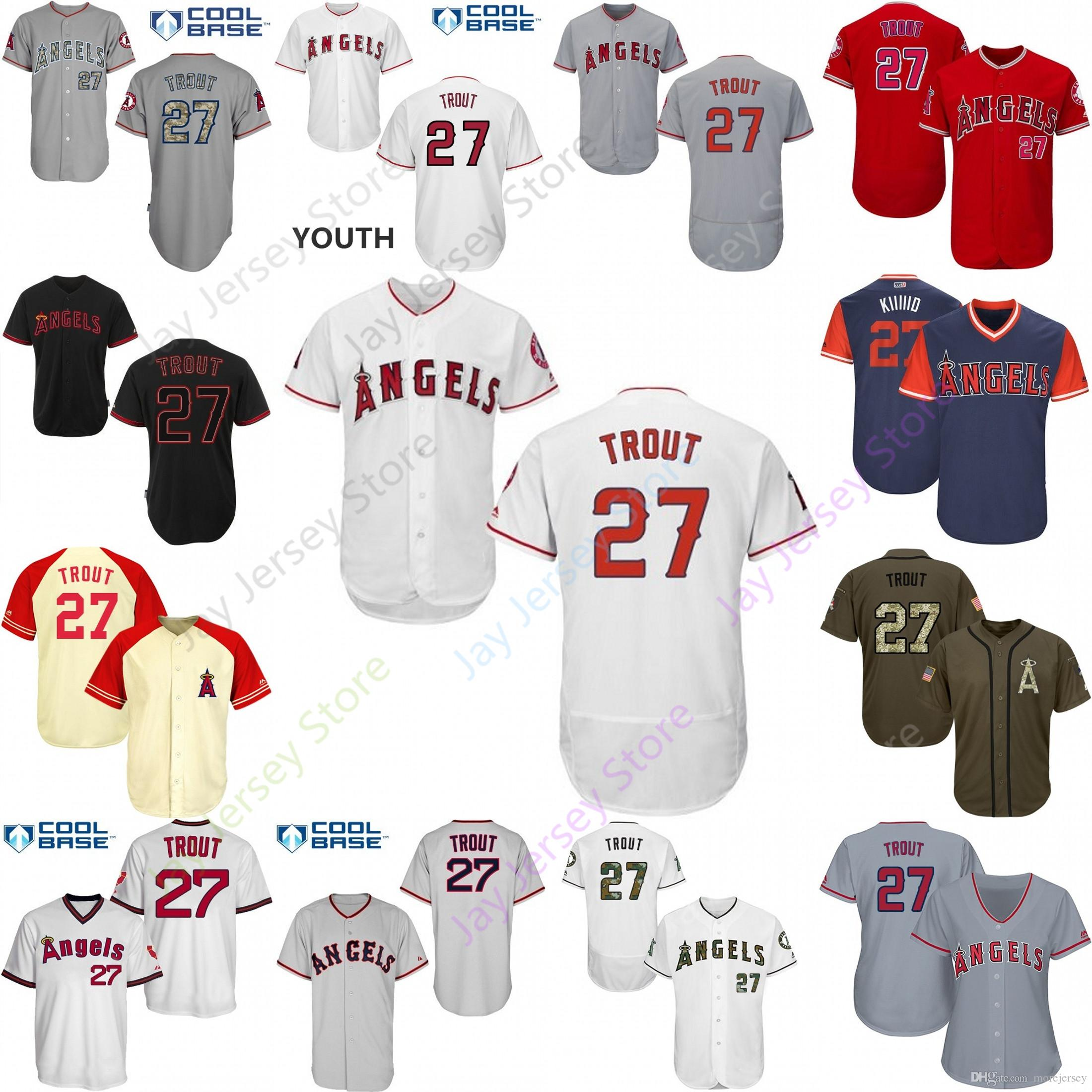 reputable site f829e 9f700 2019 2019 Los Angeles 27 Mike Trout Jersey Angels Of Anaheim Jerseys  CoolBase Flexbase Home Away White Black Red Grey Pullover Button Men Women  From ...