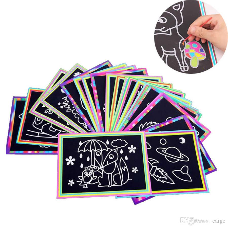 10 pcs/lot 26x19cm Large Scratch Art Paper Magic Painting Paper with Drawing Stick For Kids Toy Colorful Drawing Toys