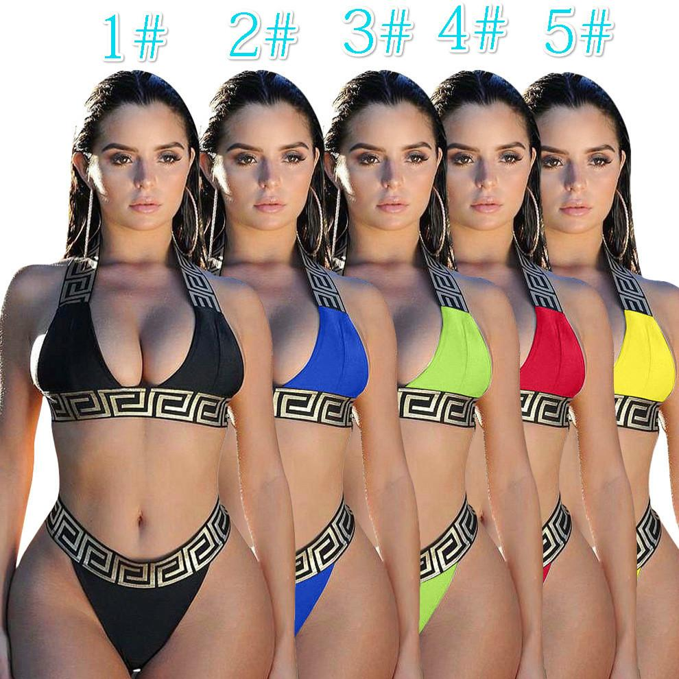 Diseñador de las mujeres 2 piezas traje sistemas atractivos de Tankinis Halter Bra Ropa Interior Calzoncillos Bañadores Bikinis ropa de verano cinco colores