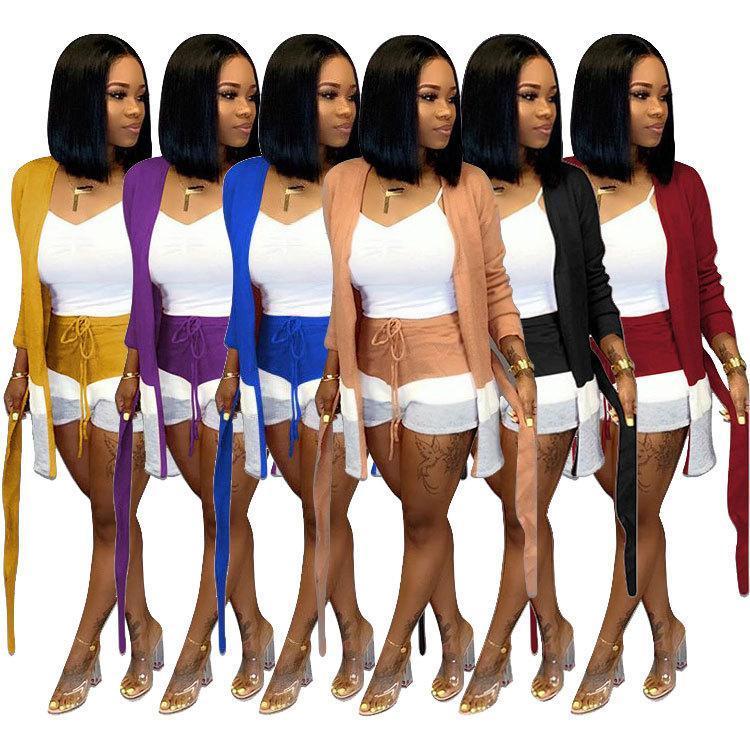 Inverno elegante de malha de lã das mulheres Set Abrir ponto Sashes Shorts Brasão Ankle Comprimento fato de duas peças Set Macacões Treino S-2XL