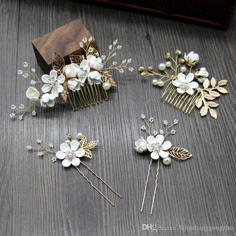 Fairytale Forest Bridal Hair Comb Wedding Headpiece Pearl Beaded Crystal Bridesmaid Pins Leaves Flower Gold Bridal Hair Pieces Set