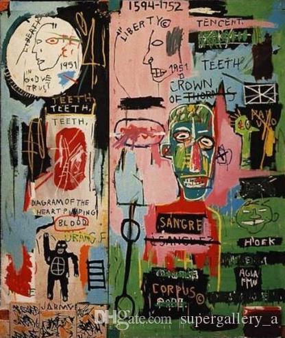 Jean Michel Basquiat Abstrakte Hochwertige Kunsthandwerk / HD Druck Ölgemälde Auf leinwand Wohnkultur Wandkunst Bild In Italian2