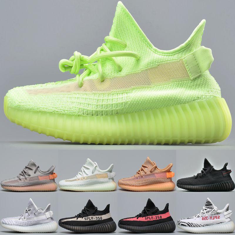 Sply35 V2 Tasarımcı Çocuklar Erkek Kız 2019 Yeni Kil Ayakkabı Gerçek Form Hyperspace Statik Yansıtıcı GLOW Zebra çocuk Koşu Ayakkabıları