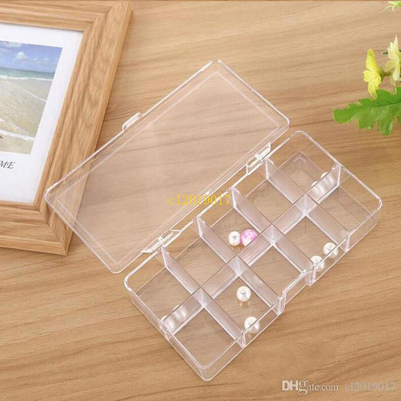 50pcs 10 Grids Clear Acrylic Empty Storage Box Beads Jewelry Decoration Nail Art Display Container Case