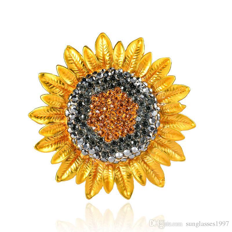 2019 tendência nova designer de moda originais broche de girassol planta quente flor de diamante de liga broche de jóias high-end