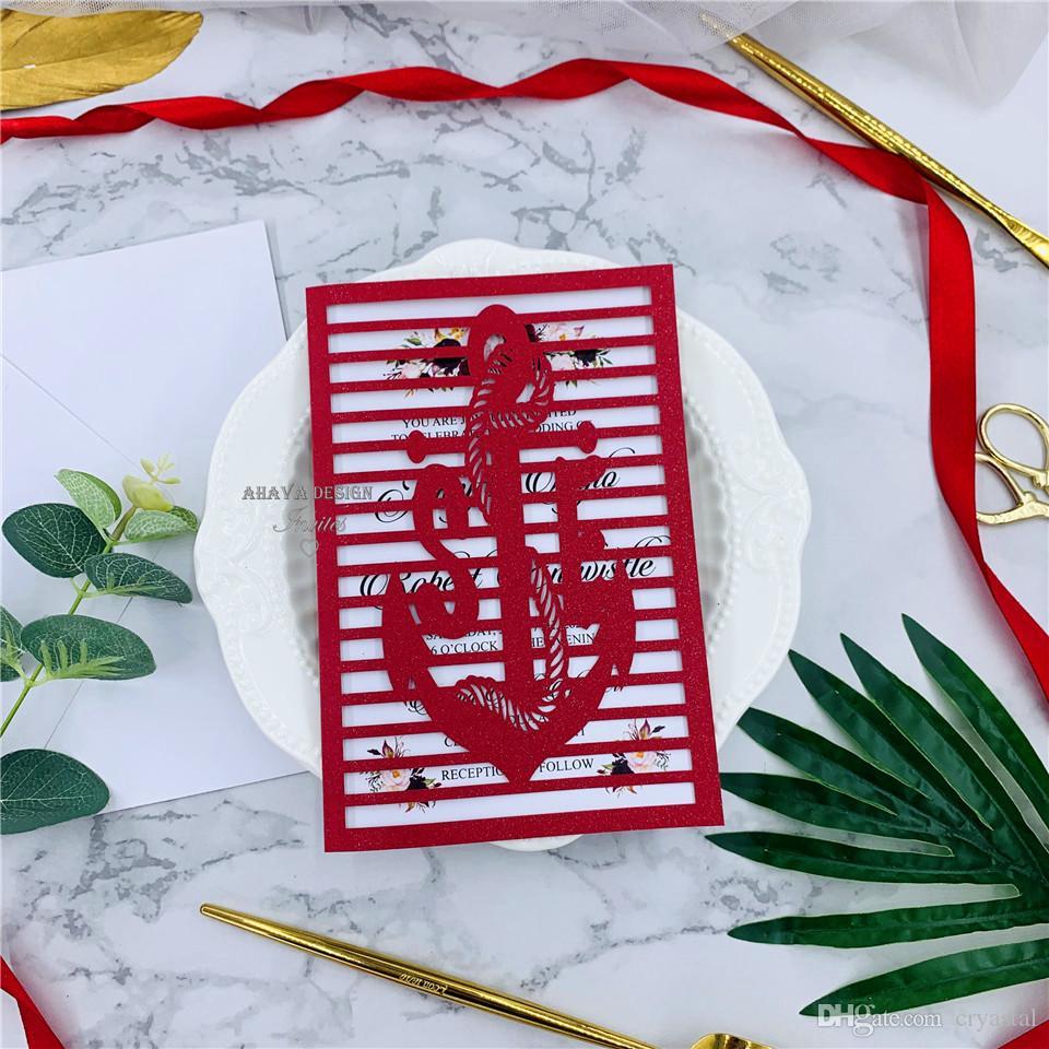 Shimmer élégant laser rouge coupe de poche d'invitation de mariage Suite, Quinceanera invitations, invitation pour le mariage de plage, Design gratuit