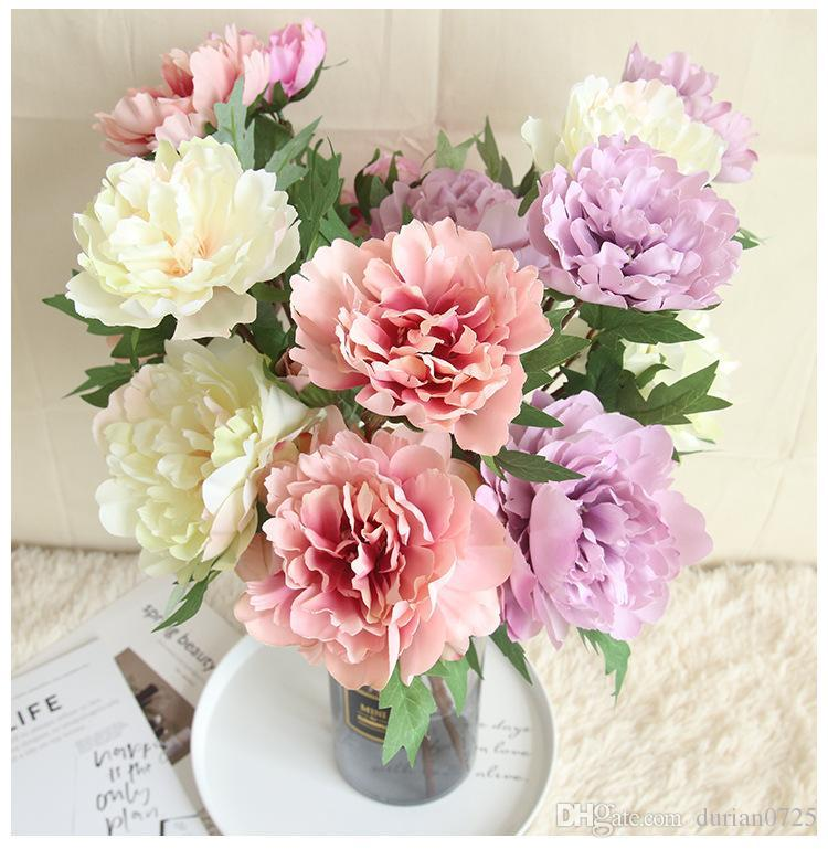 Yapay Çiçek Ortanca Şakayık Gelin Buketi İpek Çiçek düğün Sevgililer Günü Partisi ev DIY Dekorasyon için