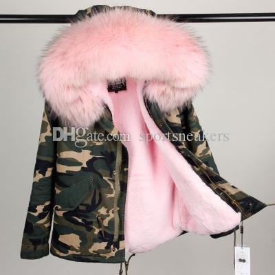 Mesdames Camouflage Veste courte Veste de fourrure Liner Mini Parkas à capuche avec un véritable collier de fourrure de raton laveur pour une hiver froide Maomaokong Sales en ligne