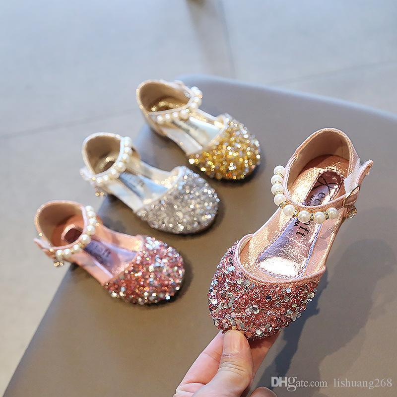 유아 어린이 진주 블링 스팽글 단일 공주 샌들 댄스 파티 신발 21-36을 유아 여자 샌들 공주 여자 아기 신발