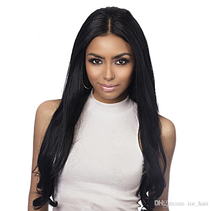 Hot Malaysian Silky Straight Silk Base Full Lace Wig Middle Part Human Hair Wigs Glueless Silk Top Wigs Bleached Knots 130% Density