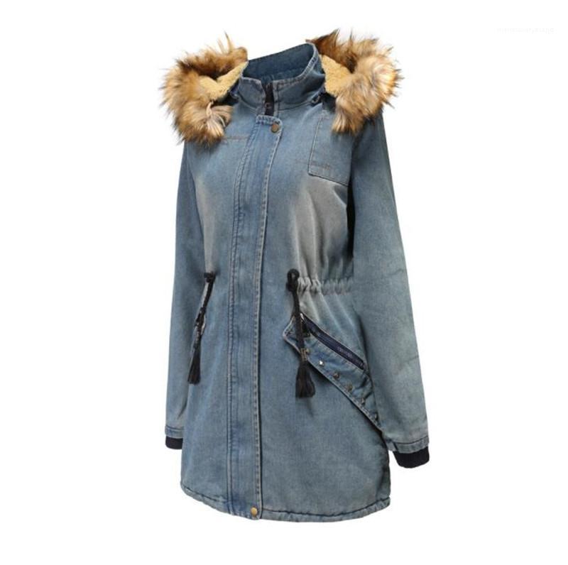 سترة فو الفراء طوق سميكة الشتاء سترة الأزياء رسم سلسلة الخصر معاطف الدافئة مصمم إمرأة الدينيم