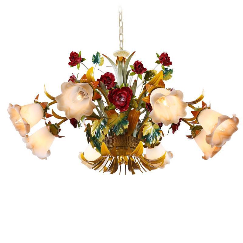 방 여자 침실 식사 유럽의 꽃 LED 샹들리에 조명 유리 그늘 로즈 램프 거실 매달려 조명 D72을 점등