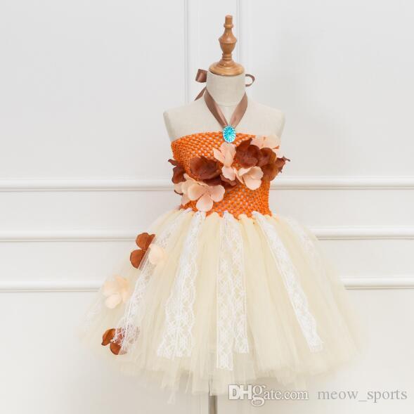 Girl Princess Skirt Orange sleeveless Sling Dress for children bubble skirt TUTU pettiskirt Festival party skirt