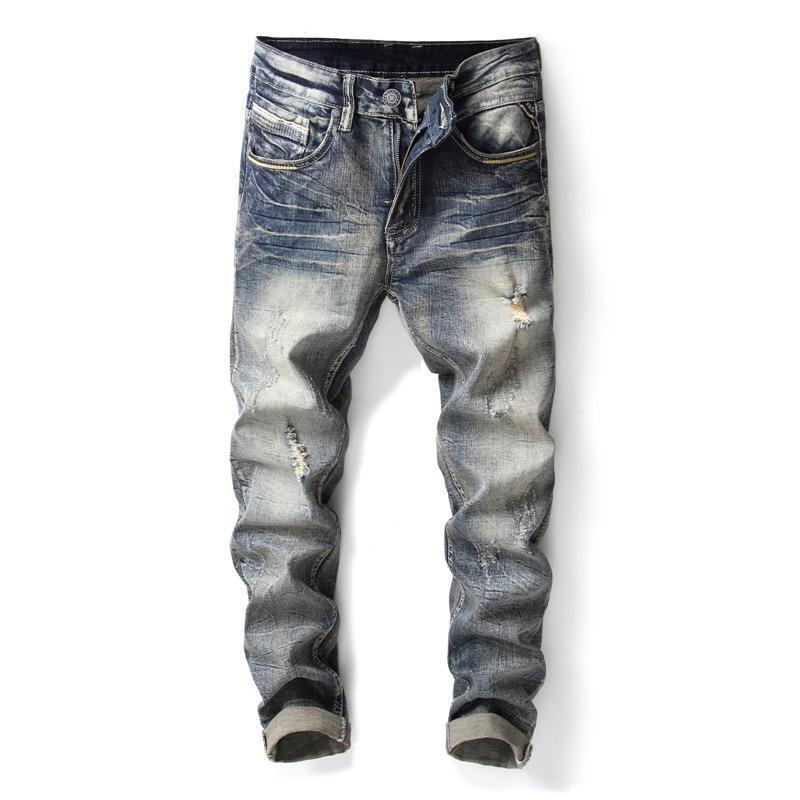 2020 Новый год сбора винограда способа Тощий Разорванные джинсы Мужчины Причинно Брюки Плюс Размер 38 Мужские джинсы