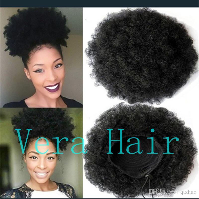 인간의 머리카락 기계 짧은 아프리카 곱슬 곱슬 곱슬 곱슬 한 꼬리 높은 퍼프 아프리카 포니 테일 Drawstring 포니 테일