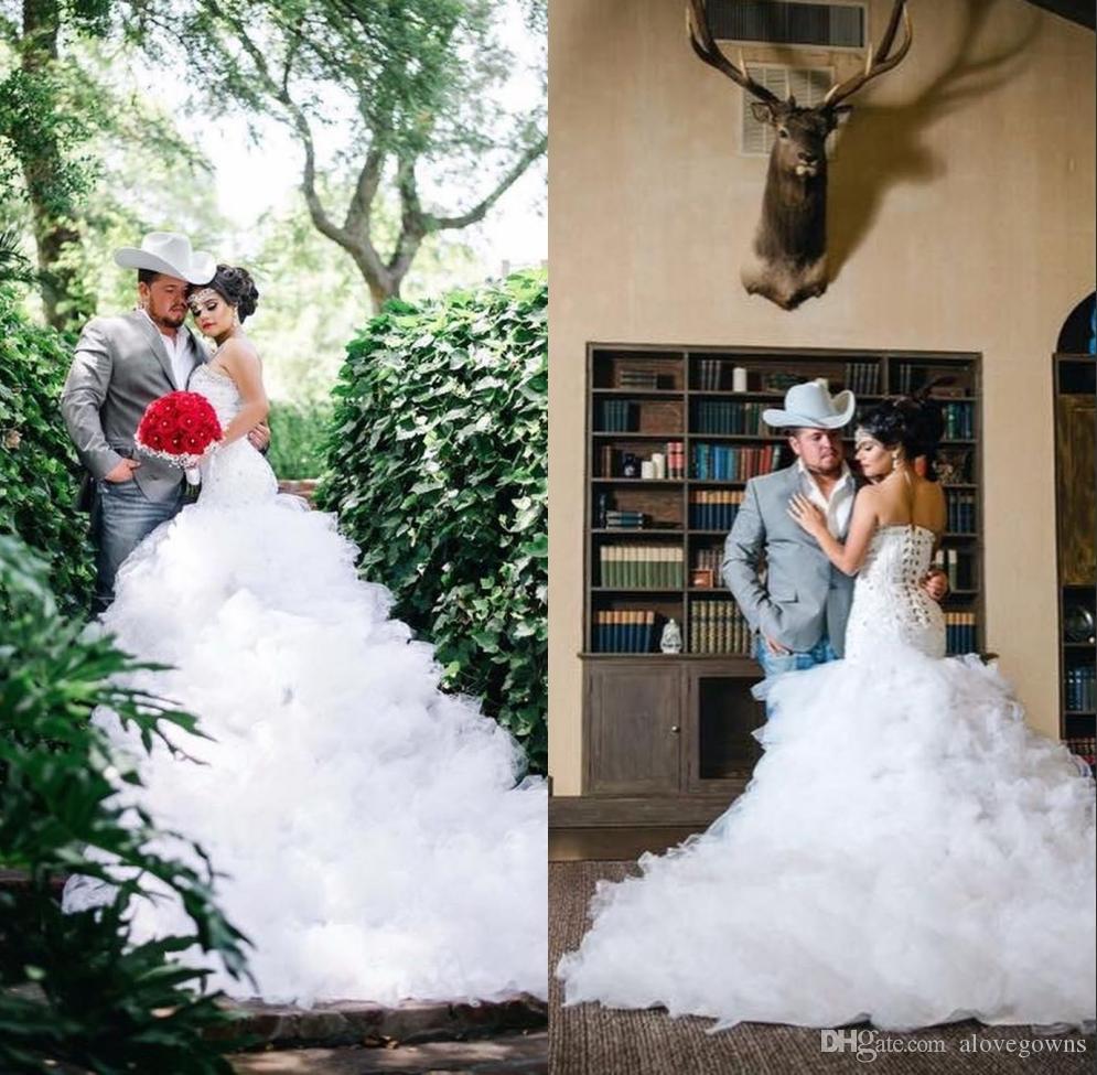 Plus Size African Mermaid Wedding Dresses 2020 Lace Ruffles Bridal Gowns Cathedral Train Trumpet Bride Wedding Dress Vestidos De Novia