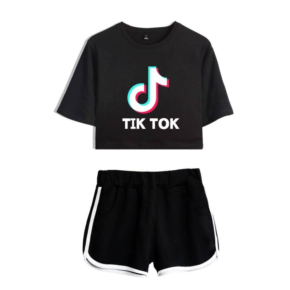 Senhoras / Meninas TIK Tok Impresso T-Shirt Music Video App Logotipo Top Curto com Shorts Hip Hop Streetwear Conjuntos de Pijama de Algodão de Manga Curta T-Shirt