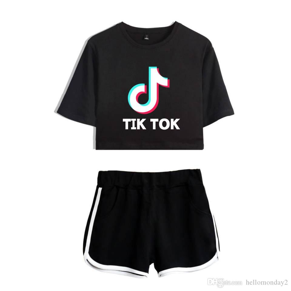 Ladies/Girls TIK Tok Printed T-Shirt Music Video App Logo Crop Top with Shorts Hip Hop Streetwear Pyjama Sets Cotton Short Sleeve T-Shirt
