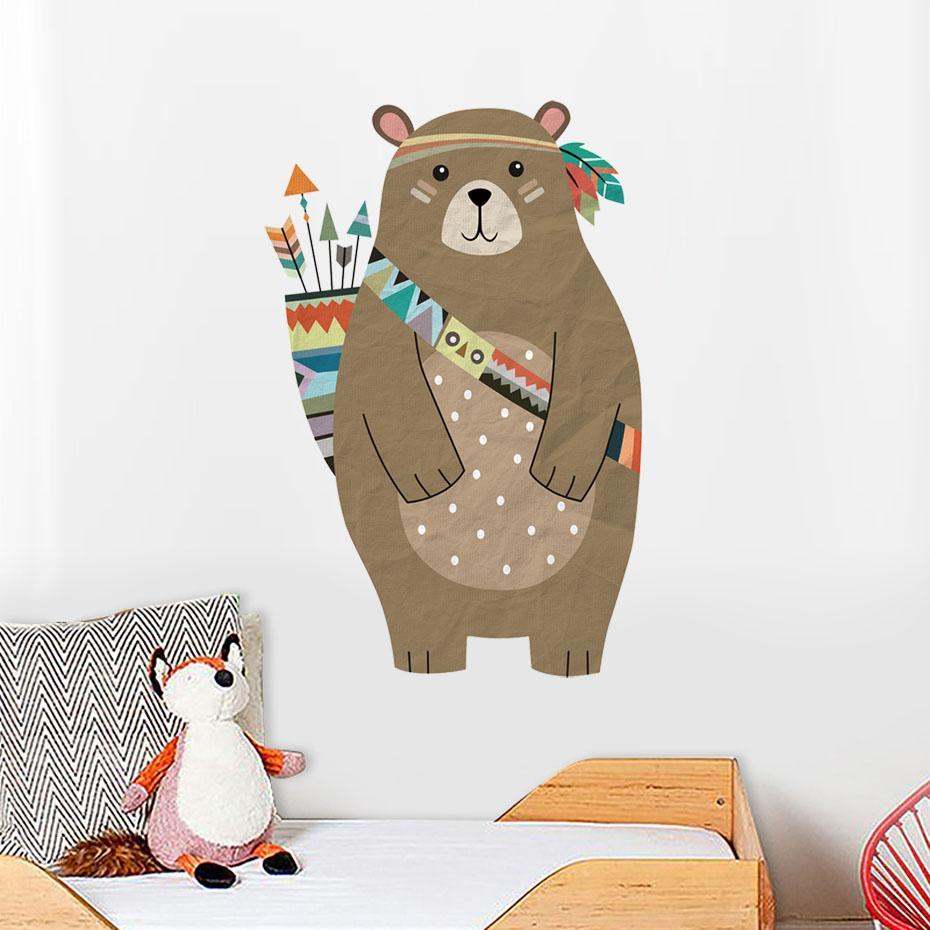 Urso Coloridos Tribal Adesivo De Parede Seta Woodland Animal Urso Para Quarto De Crianças