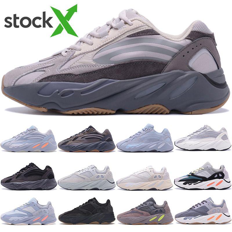 Top qualità Kanye West scarpe da corsa 700 corridore dell'onda inerzia riflettente Tephra Solid Grey Utility nero Vanta Uomo Donna Sport Sneakers con