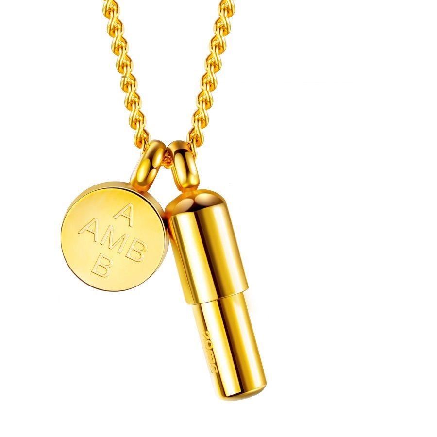 Мода хип-хоп Bling мужские женщины 18k позолоченные цепи капсулы таблетки подвески ювелирные изделия мужчины ожерелья из нержавеющей стали Шарм Ожерелье для мужчин