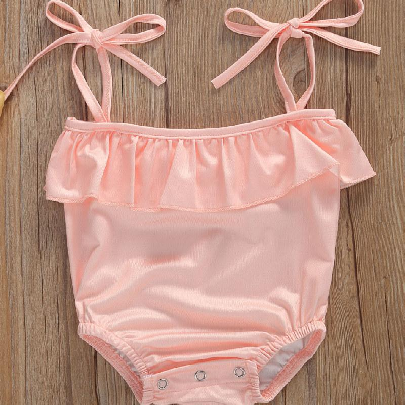 جديد 0-18M الصيف بنات الطفل ملابس رومبير الزهور الكشكشة أكمام قطعة واحدة ملابس السباحة الوليد الرضع Bahthing بدلة السباحة