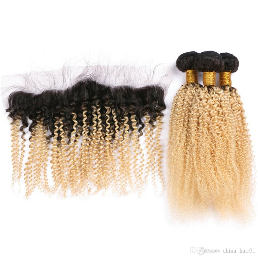 Kinky Curly #1B/613 Dark Root Blonde Ombre 13x4 Full Lace Frontal Closure with 3Bundles Peruvian Ombre Virgin Human Hair Weaves 4Pcs Lot