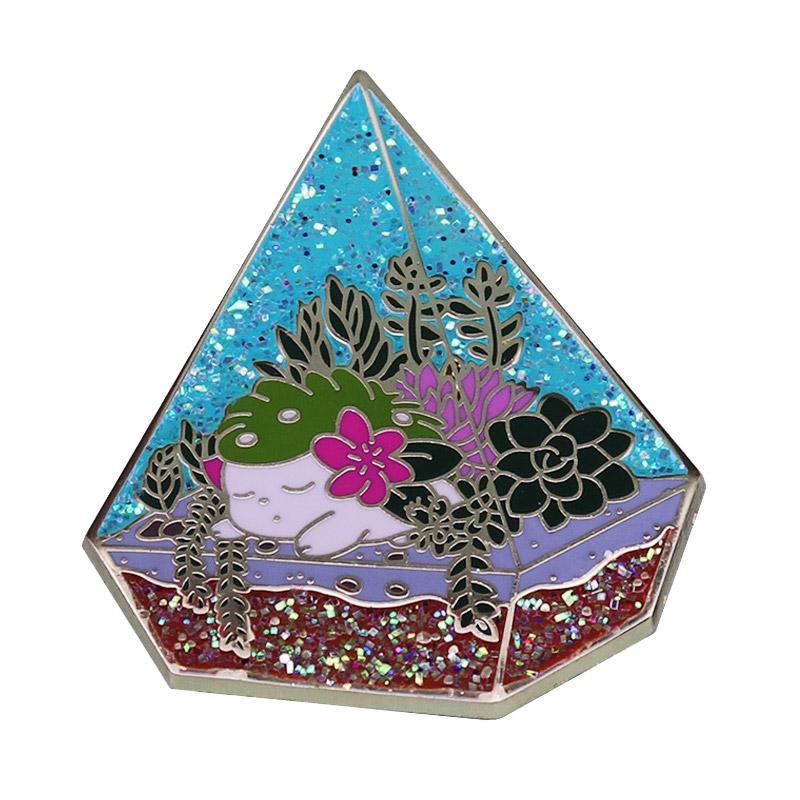Glitter Pyramide Succulent Terrarium émail Pin Art Floral botanique cadeau parfait pour les amateurs de plantes!