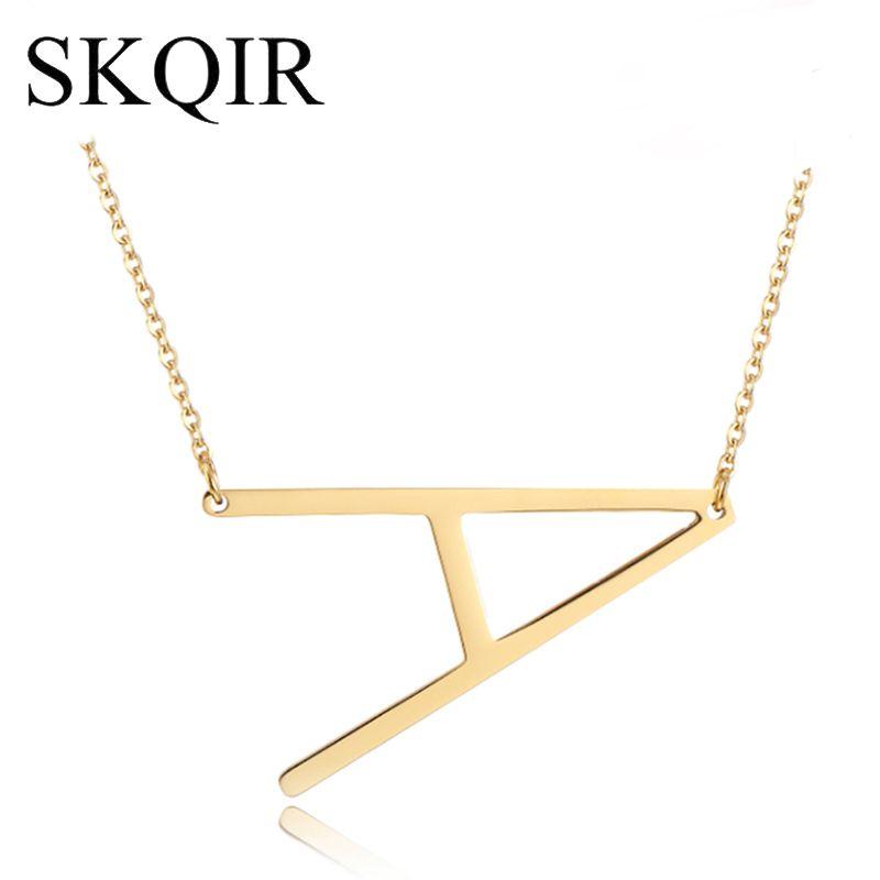 Collar personalizado con colgante de letra SKQIR Cadena de acero inoxidable de plata dorada Nombre personalizado Collares Encanto inicial Joyería caliente