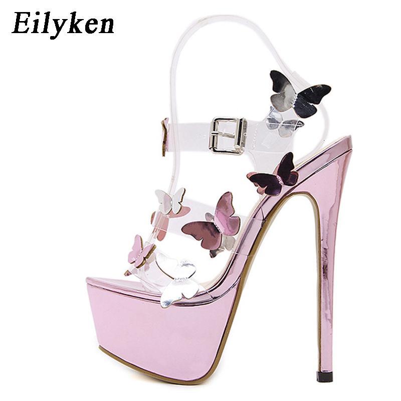 Eilyken Gladiator Sandals Ankle Strap Platform Sandals Women Flower Transparent Women Pumps 17CM Summer Sexy Purple Woman Sandal CX200613