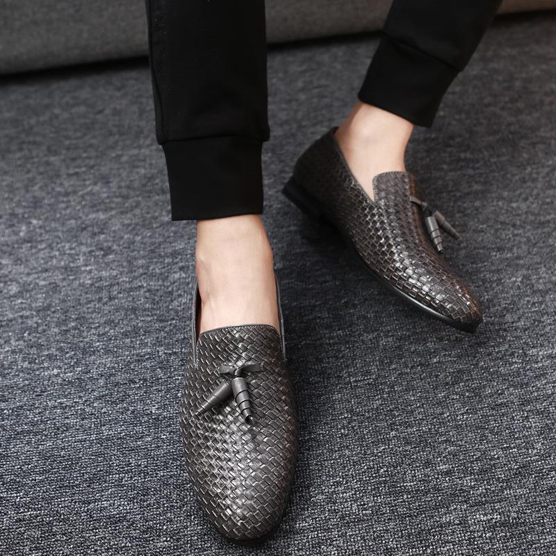Острым носом бизнес мужчины мода мокасины вязание обувь повседневная дышащая PU резиновая подошва плоские свадебные туфли