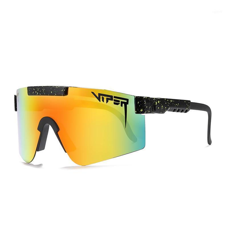 Çukur UV400 PV01-C61 Büyük Boy Spor Polarize Aynalı Erkekler / Kadınlar için Rüzgar Geçirmez Çerçeve Güneş Gözlüğü Viper Lens TR90 Jougc