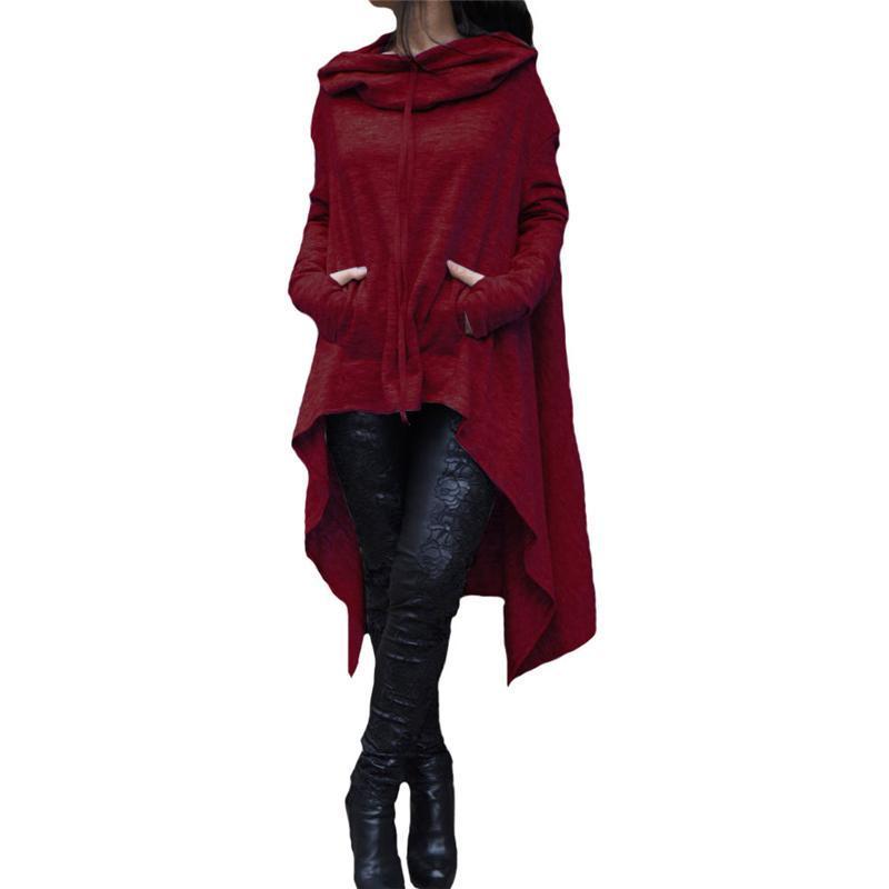 Kadın Moda Uzun Kollu Gevşek Eşofman Cep Artı Boyutu Bayanlar Giyim Hoodies Sonbahar Kış Tişörtü Katı Renk Yeni Gelenler