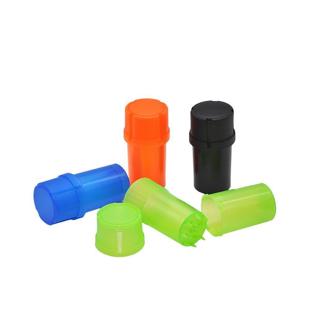 Günstige Kunststoff Tabak Grinder 3 Teile Rauchen Grinder Mit Med Container Crusher Aufbewahrungsbehälter Rauchzubehör CCA11866-C 120pcsN
