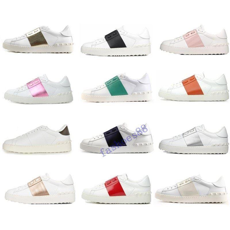 2020 Nova chegada Designer sapatos brancos Preto Vermelho Moda Mens mulheres de couro sapatos casuais Abrir Low esportes sapatilhas Tamanho 35-46