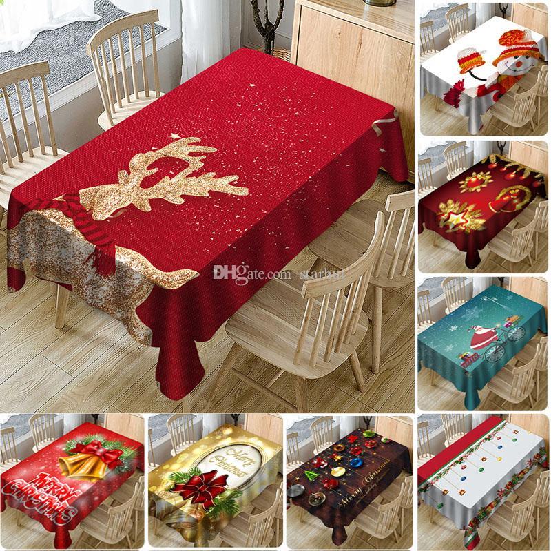 Table Cloth Nouvel An Imprimé Noël 3D imperméable pleine polyester Nappe maison Décorations de Noël Couverture Table DHL WX9-1728